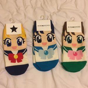Sailor moon cartoon ankle socks set